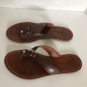 Cole Haan Leather Snake embossed sandals